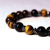 Украшения handmade. Livemaster - original item Bracelet  Defender from natural stones tiger`s eye and agate. Handmade.
