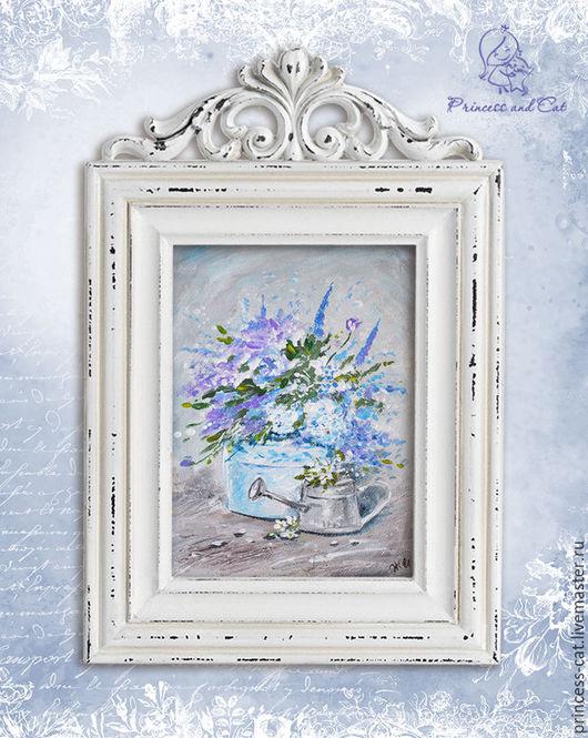 """Картины цветов ручной работы. Ярмарка Мастеров - ручная работа. Купить Натюрморт """"French blue"""". Handmade. Голубой, натюрморт с цветами"""
