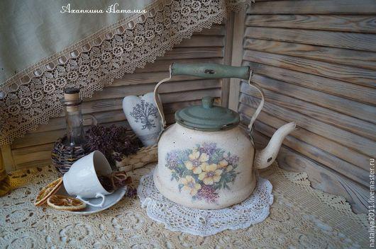 """Экстерьер и дача ручной работы. Ярмарка Мастеров - ручная работа. Купить """"Майский чай""""-чайник. Handmade. Белый, посуда, цветы"""