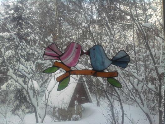 Подарки для влюбленных ручной работы. Ярмарка Мастеров - ручная работа. Купить влюбленные птички, витраж. Handmade. Подвеска, Витраж Тиффани