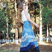 Одежда handmade. Livemaster - original item Denim boho skirt