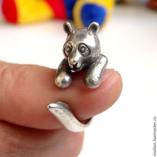 Кольца ручной работы. Ярмарка Мастеров - ручная работа. Купить Серебряное кольцо Панда, ручная работа из серии животные. Handmade.