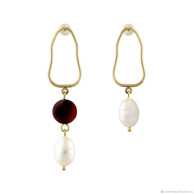 Handmade earrings with natural amber, Earrings, Kaliningrad,  Фото №1