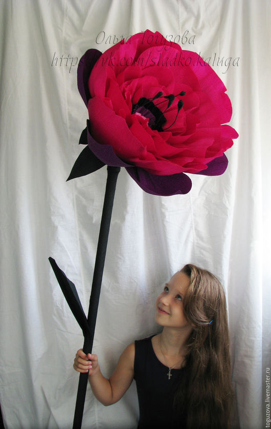Дизайн интерьеров ручной работы. Ярмарка Мастеров - ручная работа. Купить Гигантский цветок из  бумаги. Handmade. Тёмно-фиолетовый, для интерьера
