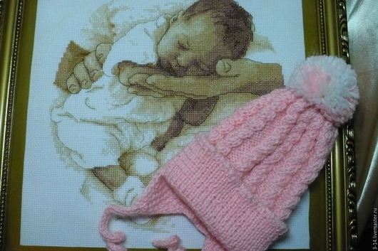 Шапки и шарфы ручной работы. Ярмарка Мастеров - ручная работа. Купить Розовая шапочка с помпоном для малыша 3-6 месяцев. Handmade.