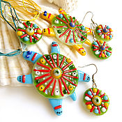 Украшения handmade. Livemaster - original item Jewelry sets: jewelry made of glass Turtle, fusing jewelry. Handmade.
