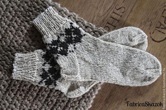Носки, Чулки ручной работы. Ярмарка Мастеров - ручная работа. Купить Носки из суровой деревенской шерсти. Handmade. Белый