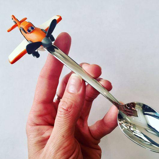 Ложки ручной работы. Ярмарка Мастеров - ручная работа. Купить Чайная ложка с самолетиком Дасти. Handmade. Полимерная глина
