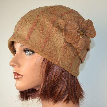 Accessories handmade. Livemaster - original item Beige felted beanie hat with stripes. Handmade.