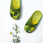 """Обувь ручной работы. Ярмарка Мастеров - ручная работа """"Лимончики"""", валяные домашние тапочки. Handmade."""
