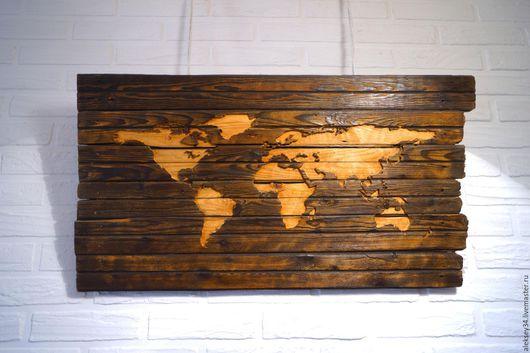 """Детская ручной работы. Ярмарка Мастеров - ручная работа. Купить """"Карта мира"""" декор на стену. Handmade. Коричневый, подарок на свадьбу"""