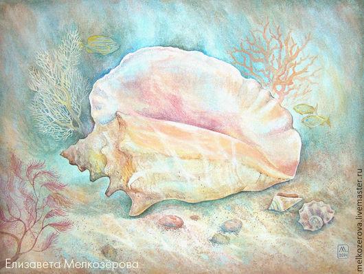 """Натюрморт ручной работы. Ярмарка Мастеров - ручная работа. Купить Картина """"Морское дно"""". Handmade. Голубой, морская тема, вода"""