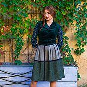 Одежда ручной работы. Ярмарка Мастеров - ручная работа Твидовая юбка со складками. Handmade.