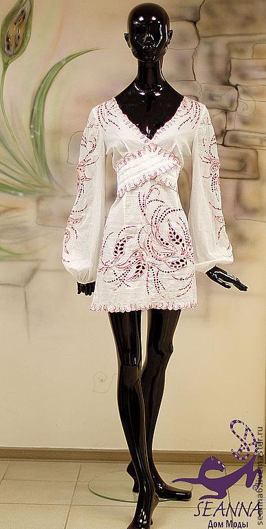 """Блузки ручной работы. Ярмарка Мастеров - ручная работа. Купить Платье-туника """"Красные цветы"""" с вышивкой  ришелье- на заказ вышивка. Handmade."""