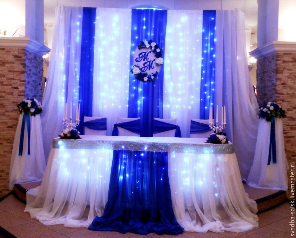 Оформление в свадьбы в голубом цвете