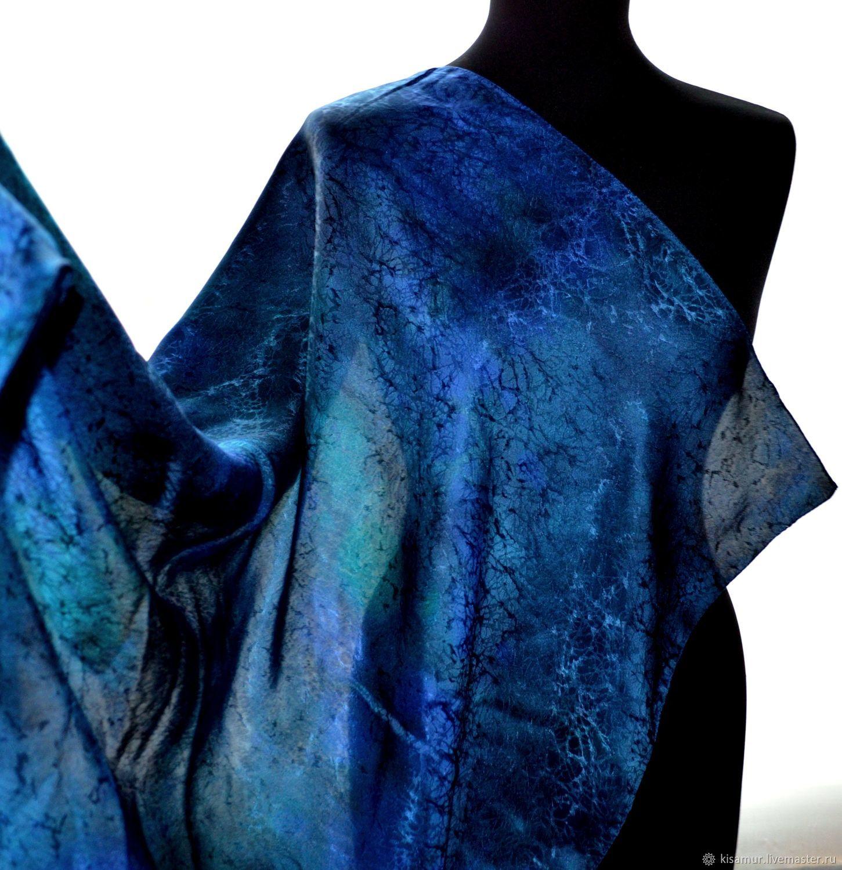 Большой шелковый платок темно синий изумрудный шелк жаккард, Платки, Вязьма,  Фото №1