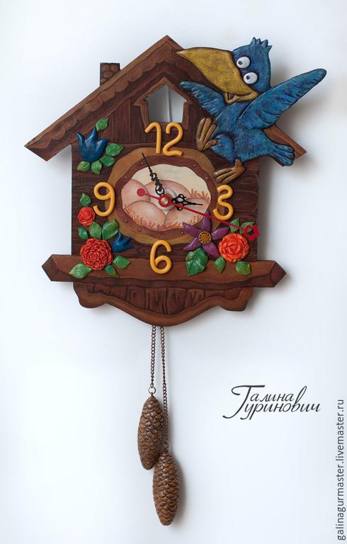 """Часы для дома ручной работы. Ярмарка Мастеров - ручная работа. Купить Часы """"Кукушка"""". Handmade. Коричневый, букет, домик"""