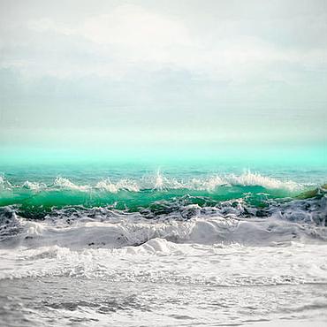Картины и панно ручной работы. Ярмарка Мастеров - ручная работа Море Фото картина для интерьера Морской Пейзаж Пастель волны бирюза. Handmade.