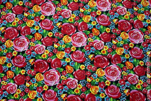 Шитье ручной работы. Ярмарка Мастеров - ручная работа. Купить Отрез ткани с розами 50х75 см. Handmade. Розовый, бязь