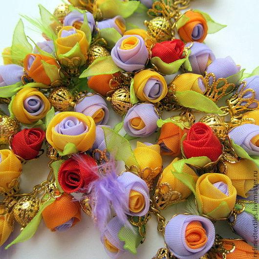 Колье, бусы ручной работы. Ярмарка Мастеров - ручная работа. Купить Ожерелье с цветами из ткани. Счастливый день.. Handmade. Ожерелье