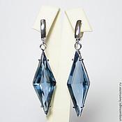 Украшения handmade. Livemaster - original item Earrings with London blue Topaz. 925 sterling silver PR.. Handmade.