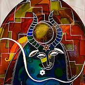 Посуда handmade. Livemaster - original item Bottle-vintage bottle Minotaur, stained glass painting. Handmade.