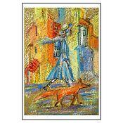 """Открытки ручной работы. Ярмарка Мастеров - ручная работа Открытка авторская - """"Прогулка с лисой"""". Handmade."""