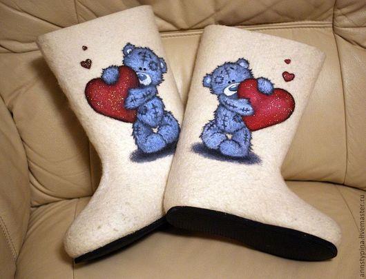 Обувь ручной работы. Ярмарка Мастеров - ручная работа. Купить Теддики с сердечком. Handmade. Белый, валенки, валеночки, валяная обувь