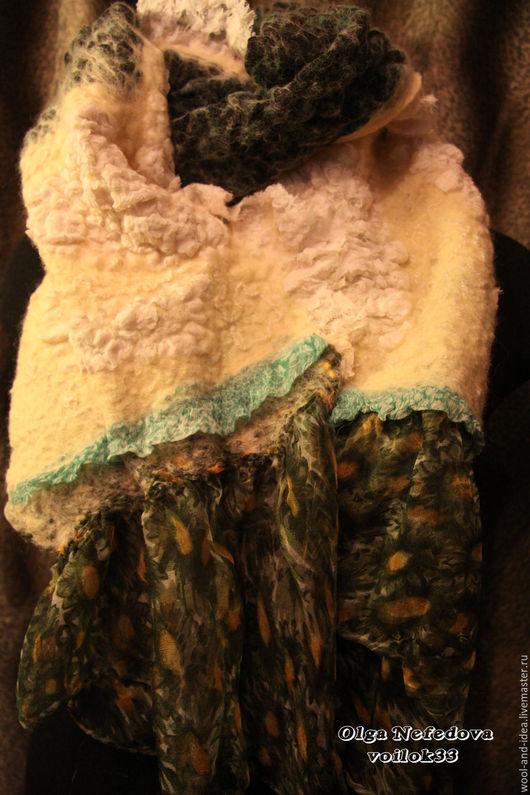 """Шали, палантины ручной работы. Ярмарка Мастеров - ручная работа. Купить Палантин """"Шишки под снегом"""". Handmade. Валяние, Фактурный"""