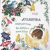 """Для дома и интерьера ручной работы. Ярмарка Мастеров - ручная работа Детская метрика """"Ангелочек в цветочках"""". Handmade."""