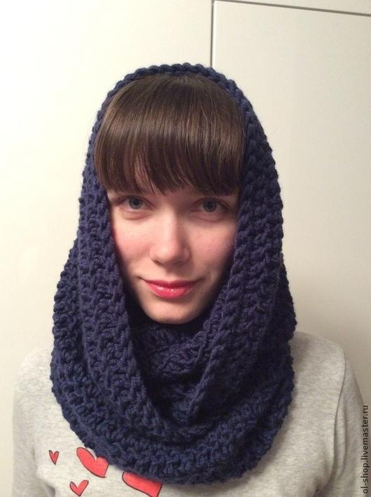 Шарфы и шарфики ручной работы. Ярмарка Мастеров - ручная работа. Купить Снуд вязаный. Handmade. Тёмно-синий, снуд, шарф