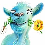 Картины и панно handmade. Livemaster - original item Picture - Goat with a flower. Handmade.