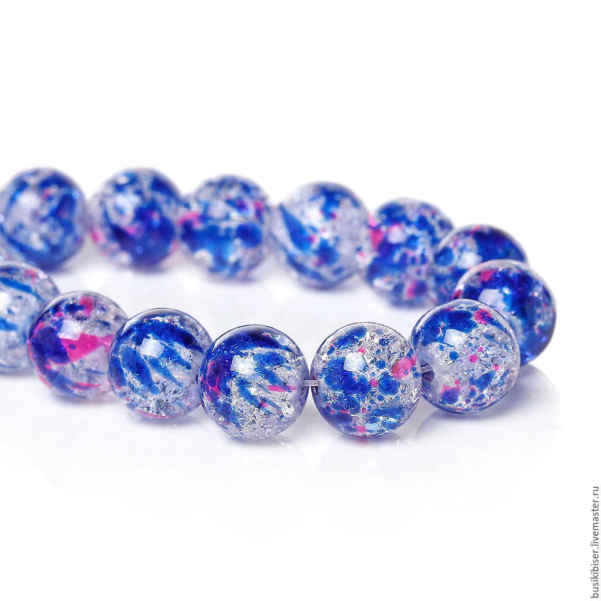 Стеклянные бусины 10 мм. с сине-красными кляксами (10 шт.)