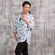 "Одежда handmade. Livemaster - original item Льняная рубашка -туника ""Пёрышки"" большие размеры. Handmade."