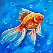 Картины и панно handmade. Livemaster - original item Oil painting in a frame goldfish photorealism. Handmade.
