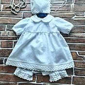 Работы для детей, ручной работы. Ярмарка Мастеров - ручная работа Комплект для крестин для девочки—платье, штанишки и чепчик. Handmade.