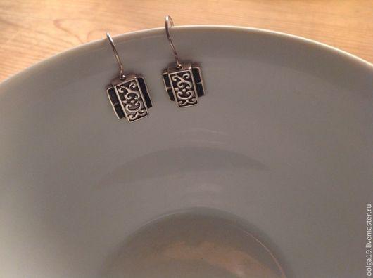 Серьги ручной работы. Ярмарка Мастеров - ручная работа. Купить Серьги из серебра 925 пробы  филигранные с черным ониксом. Handmade.