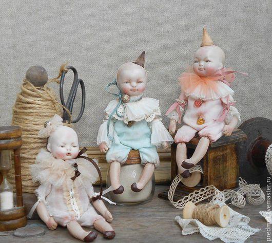 Коллекционные куклы ручной работы. Ярмарка Мастеров - ручная работа. Купить Крошки-Пьерошки. Handmade. Пьеро, три куколки, пастель