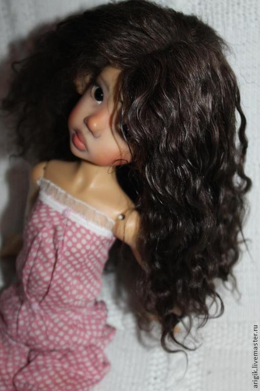 Куклы и игрушки ручной работы. Ярмарка Мастеров - ручная работа. Купить Парик для куклы. Handmade. Коричневый, волосы натуральные, doll