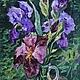 Картины цветов ручной работы. Ярмарка Мастеров - ручная работа. Купить Синие ирисы. Handmade. Тёмно-фиолетовый, ирисы