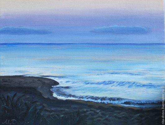 Пейзаж ручной работы. Ярмарка Мастеров - ручная работа. Купить картина акрилом Сумерки на Море. Handmade. Бледно-сиреневый, пейзаж