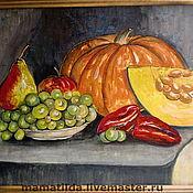 """Картины и панно ручной работы. Ярмарка Мастеров - ручная работа Натюрморт  """"Тыква и виноград"""". Handmade."""