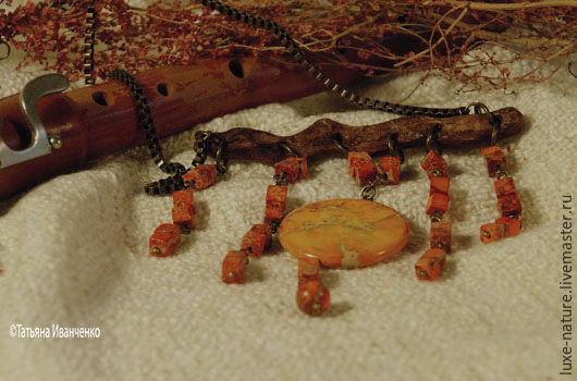 Колье, бусы ручной работы. Ярмарка Мастеров - ручная работа. Купить колье из дкрева с натуральным камнем Солнечная флейта. Handmade.