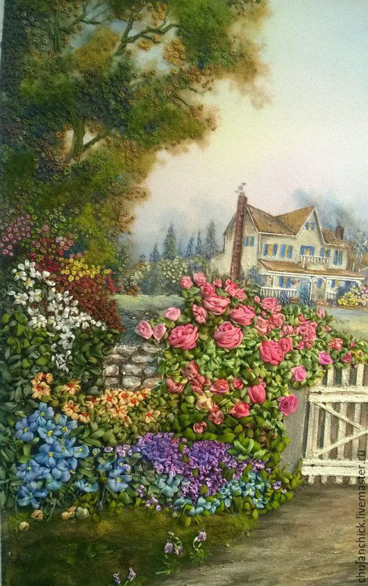 пейзаж лентами, вышитая картина, вышитый дом, вышитая картина, вышитая картина лентами, вышитый дом, картина для интерьера, вышитый сад