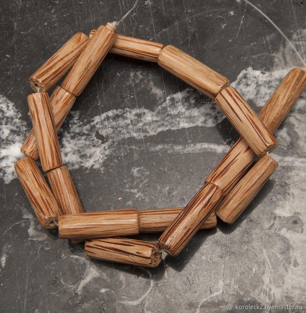 Полосатые бусины-трубочки из пальмового дерева, 26 мм, Бусины, Москва,  Фото №1