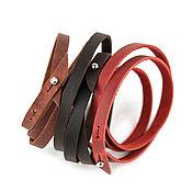 Украшения handmade. Livemaster - original item Leather bracelet wrapped in three turns with adjustable long. Handmade.