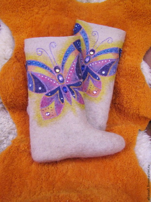 """Обувь ручной работы. Ярмарка Мастеров - ручная работа. Купить Валенки """"Rainbow butterfly"""". Handmade. Валенки, валенки для улицы"""
