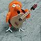 Валяная из шерсти  Маленькая, но гордая птичка художника Николая Воронцова( Микола или дядя Коля Воронцов)птичка-гитарист будет  радовать вас каждый день.
