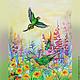 """Животные ручной работы. Картина """"Солнечный день"""". Helen Gloss. Ярмарка Мастеров. Утро, рассвет, попугайчик, тропики, акварель"""