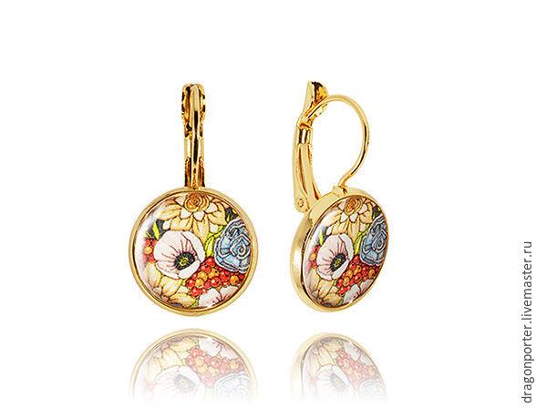 Yellow-orange earrings for yourself ' Flower mood', Earrings, Moscow,  Фото №1
